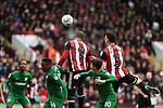 Leon Clarke of Sheffield Utd  heads the ball during the Championship league match at Bramall Lane Stadium, Sheffield. Picture date 28th April, 2018. Picture credit should read: Harry Marshall/Sportimage