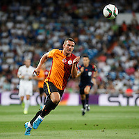 Galatasaray´s Lukas Podolski during Santiago Bernabeu Trophy match at Santiago Bernabeu stadium in Madrid, Spain. August 18, 2015. (ALTERPHOTOS/Victor Blanco)
