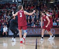 STANFORD, CA - March 2, 2019: Paul Bischoff, Kyle Dagostino, Kyler Presho, Jaylen Jasper at Maples Pavilion. The Stanford Cardinal defeated BYU 25-20, 25-20, 22-25, 25-21.