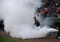 Players for the South Carolina Gamecocks are introduced with a fog machine prior to a game against the Clemson Tigers on Saturday, March 2, 2013, at Fluor Field at the West End in Greenville, South Carolina. Clemson won the Reedy River Rivalry game 6-3. (Tom Priddy/Four Seam Images)