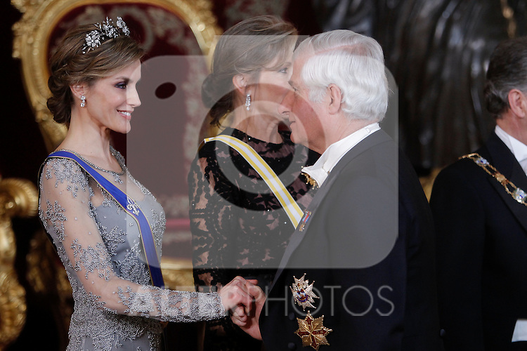 Spanish Royals host a dinner for the Colombian President Juan Manuel Santos and his wife Maria Clemencia Rodriguez in Madrid, Spain. In the pic:Queen Letizia of Spain and Carlos Fitz-James Stuart y Martínez de Irujo. March 02, 2015. (Jose Luis Cuesta/POOL/ALTERPHOTOS)