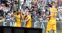 Preston North End's Daniel Johnson (left) celebrates scoring his side's second goal <br /> <br /> Photographer David Horton/CameraSport<br /> <br /> The EFL Sky Bet Championship - Swansea City v Preston North End - Saturday 17th August 2019 - Liberty Stadium - Swansea<br /> <br /> World Copyright © 2019 CameraSport. All rights reserved. 43 Linden Ave. Countesthorpe. Leicester. England. LE8 5PG - Tel: +44 (0) 116 277 4147 - admin@camerasport.com - www.camerasport.com
