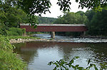 West Cornwall covered bridge 1841 Litchfield County Connecticut, West Cornwall covered bridge 1841 over the Housatonic River, Litchfield County Connecticut,  West Cornwall Bridge is a two span Town Lattice and Queenpost Truss 242 feet, West Cornwall covered bridge with its red spruce timbers secured by a pair of treenails, Fine Art Photography by Ron Bennett, Fine Art, Fine Art photography, Art Photography, Copyright RonBennettPhotography.com ©