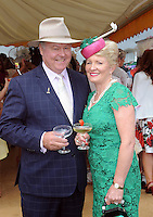 Pictured enjoying the summer fayre on the Ross Hotel / Lane Bar Champagne &amp; Cocktail Marquee at Killarney Races ladies Day on Thursday were from left, Bernie Brennand Trish McIntyre from NSW.<br /> Picture by Don MacMonagle<br /> <br /> <br /> PR Photo from Ross Hotel