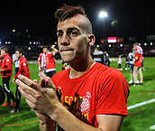 June 4th 2017, Estadi Montilivi,  Girona, Catalonia, Spain; Spanish Segunda División Football, Girona versus Zaragoza; Pere Pons, a young Girona player shows his delight at being promoted to La Liga for 2017-18 season