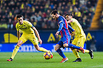 Lionel Andres Messi (c) of FC Barcelona battles for the ball with Jaume Vicent Costa Jordá (r) and Bruno Soriano Llido of Villarreal CF during their La Liga match between Villarreal and FC Barcelona at the Estadio de la Cerámica on 08 January 2017 in Villarreal, Spain. Photo by Maria Jose Segovia Carmona / Power Sport Images