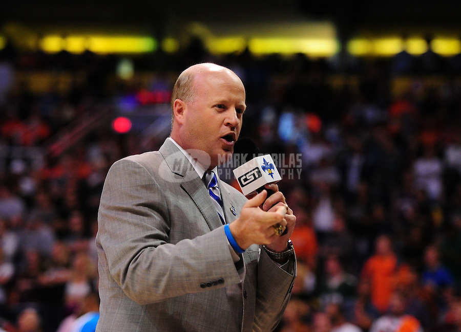 Mar. 25, 2011; Phoenix, AZ, USA; CST announcer Victor Howell for the New Orleans Hornets during the game against the Phoenix Suns at the US Airways Center. The Hornets defeated the Suns 106-100. Mandatory Credit: Mark J. Rebilas-USA TODAY Sports