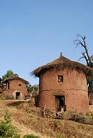 ETHIOPIA Lalibela , traditional round stone and clay hut/ AETHIOPIEN Lalibela, runde Stein und Lehm Huette