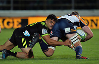 Chase Tiatia tackles Tom Cusack during the Super Rugby match between the Hurricanes and Brumbies at CET Arena in Palmerston North, New Zealand on Friday, 1 March 2019. Photo: Dave Lintott / lintottphoto.co.nz