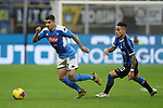 Giovanni Di Lorenzo of Napoli takes on Lautaro Martinez of Inter during the Coppa Italia match at Giuseppe Meazza, Milan. Picture date: 12th February 2020. Picture credit should read: Jonathan Moscrop/Sportimage