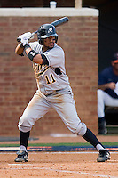 Richard Gonzalez #11 of the VCU Rams at bat against the Virginia Cavaliers at the Charlottesville Regional of the 2010 College World Series at Davenport Field on June 4, 2010, in Charlottesville, Virginia.  The Cavaliers defeated the Rams 14-5.  Photo by Brian Westerholt / Four Seam Images