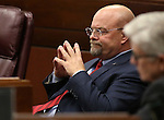 Nevada Assemblyman Ira Hansen, R-Sparks, listens to Assembly floor debate at the Legislative Building in Carson City, Nev., on Sunday, May 31, 2015.  <br /> Photo by Cathleen Allison