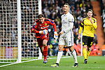 Real Madrid's Cristiano Ronaldo and Borussia Dortmund Roman Weidenfeller and Sokratis Papastathopoulos during the UEFA Champions League match between Real Madrid and Borussia Dortmund at Santiago Bernabeu Stadium in Madrid, Spain. December 07, 2016. (ALTERPHOTOS/BorjaB.Hojas)