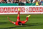 10.08.2019, Donaustadion, Ulm, GER, DFB Pokal, SSV Ulm 1846 Fussball vs 1. FC Heidenheim, <br /> DFL REGULATIONS PROHIBIT ANY USE OF PHOTOGRAPHS AS IMAGE SEQUENCES AND/OR QUASI-VIDEO, <br /> im Bild Kevin Sessa (Heidenheim, #16) landet auf dem Ruecken<br /> <br /> Foto © nordphoto / Hafner