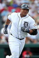 Detroit Tigers Miguel Cabrera #24 rounds the bases after hitting a home run during a spring training game vs. the Boston Red Sox at Joker Marchant Stadium in Lakeland, Florida;  March 15, 2011.  Boston defeated Detroit 2-1.  Photo By Mike Janes/Four Seam Images