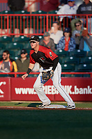 Erie SeaWolves first baseman Josh Lester (17) during an Eastern League game against the Altoona Curve on June 3, 2019 at UPMC Park in Erie, Pennsylvania.  Altoona defeated Erie 9-8.  (Mike Janes/Four Seam Images)