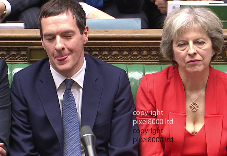 Pic shows: Budget 2016<br /> <br /> George Osborne and Theresa may with her low cut top<br /> <br /> <br /> <br /> <br /> Picture by Pixel8000 07917221968