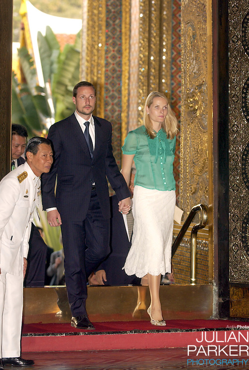 Crown Prince Haakon & Crown Princess Mette-Marit of Norway visit Thailand..Visit to the Grand Palace & The Temple of the Emerald Buddha.