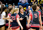 NAUGATUCK, CT-111617JS11- Cheshire had coach Sue Bavone talks with her players during a time out in their Class LL semi final game against Amity Wednesday at Naugatuck High School. Cheshire lost 3-0<br /> Jim Shannon Republican-American