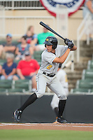 Cole Tucker (2) of the West Virginia Power at bat against the Kannapolis Intimidators at Intimidators Stadium on July 3, 2015 in Kannapolis, North Carolina.  The Intimidators defeated the Power 3-0 in a game called in the bottom of the 7th inning due to rain.  (Brian Westerholt/Four Seam Images)