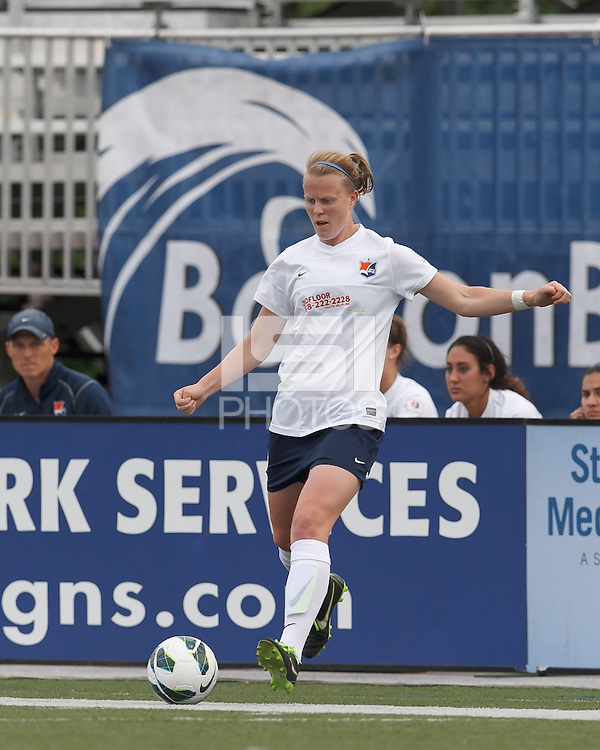 In a National Women's Soccer League Elite (NWSL) match, Sky Blue FC (white) defeated the Boston Breakers (blue), 3-2, at Dilboy Stadium on June 16, 2013.