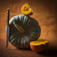 Gastronomie: Courges: Queensland blue et Potimarron // Gastronomy:  Curcubita:  Queensland blue and Red kuri squash