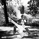 Two female ballet dancers practising outdoors