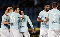 Calcio, Serie A: Lazio - Udinese, Roma, stadio Olimpico, 24 gennaio 2018.<br /> Lazio's players celebrate after Udinese's Samir own goal during the Italian Serie A football match between Lazio and Udinese at Rome's Olympic stadium, January 24, 2018.<br /> UPDATE IMAGES PRESS/Isabella Bonotto