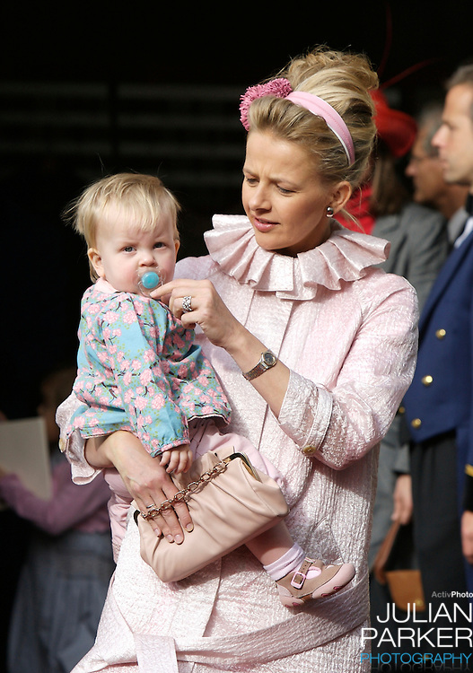 Princess Mabel and her daughter Zaria attend The Christening of Princess Ariane of The Netherlands, The youngest daughter of Crown Prince Willem Alexander and Crown Princess Maxima of The Netherlands at The Kloosterkerk in The Hauge, Holland.