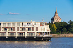 Exterior of the Irrawaddy Explorer cruise ship in Myanmar, for Haimark