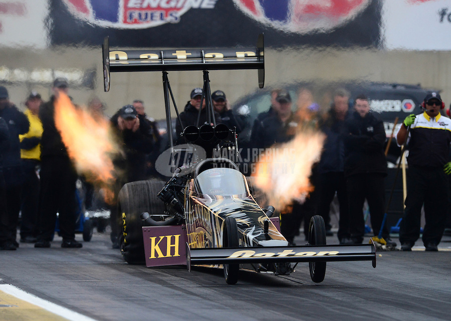 Oct. 7, 2012; Mohnton, PA, USA: NHRA top fuel dragster driver Khalid Albalooshi during qualifying for the Auto Plus Nationals at Maple Grove Raceway. Mandatory Credit: Mark J. Rebilas-