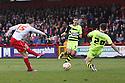 Luke Freeman of Stevenage's shot is blocked by Joe Edwards of Yeovil . Stevenage v Yeovil Town- npower League 1 -  Lamex Stadium, Stevenage - 13th April, 2013. © Kevin Coleman 2013.. . . . .. . . .  . . .  .