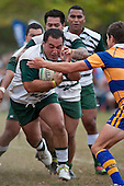 Peni Afoa has plenty of support as he makes a charge for the line. Counties Manukau Premier Club Rugby game between Manurewa and Patumahoe played at Mountfort Park Manurewa on Saturday 3rd April 2010..Patumahoe won 26 - 8 after leading 14 - 3 at halftime.