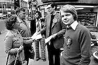 Conservative Foreign Secretary William Hague MP, pictured canvassing in Rotherham, South Yorkshire, aged 17