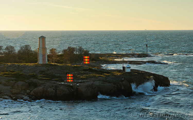 Passing Ledskär day beacon off the southern tip of Lemland, Åland. This ancient navigational mark was built in 1746 and the nearby light was established in 1904.