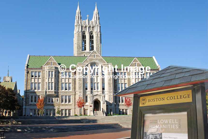 Signage, Boston College, Chestnut Hill, Boston, October, 2011, 201110084976B.   IMPORTANT - This is a composite image. The Boston College sign is superimposed on an image of a college building.<br /> <br /> Copyright Image from Victor Patterson, 54 Dorchester Park, Belfast, UK, BT9 6RJ<br /> <br /> t: +44 28 90661296<br /> m: +44 7802 353836<br /> vm: +44 20 88167153<br /> e1: victorpatterson@me.com<br /> e2: victorpatterson@gmail.com<br /> <br /> For my Terms and Conditions of Use go to www.victorpatterson.com