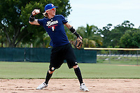 19 September 2012: France Luc Piquet warms up prior to Team France friendly game won 6-3 against Palm Beach State College, during the 2012 World Baseball Classic Qualifier round, in Lake Worth, Florida, USA.