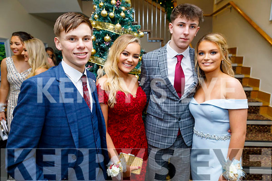 Cian Devine, Clodagh Kirby, Charlie Curran and Erin Griffin attending the Mercy Mounthawk Debs in the Ballyroe Heights Hotel on Friday.