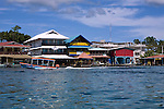 Shoreline of Bocas Town, with hotels, restaurants, and water taxi's, Bocas del Toro, Panama