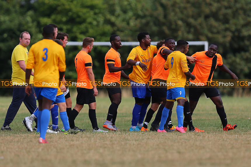 Tempers flare during Mile End (yellow/blue) vs El Valiente, Hackney & Leyton Sunday League Football at Hackney Marshes on 4th September 2016