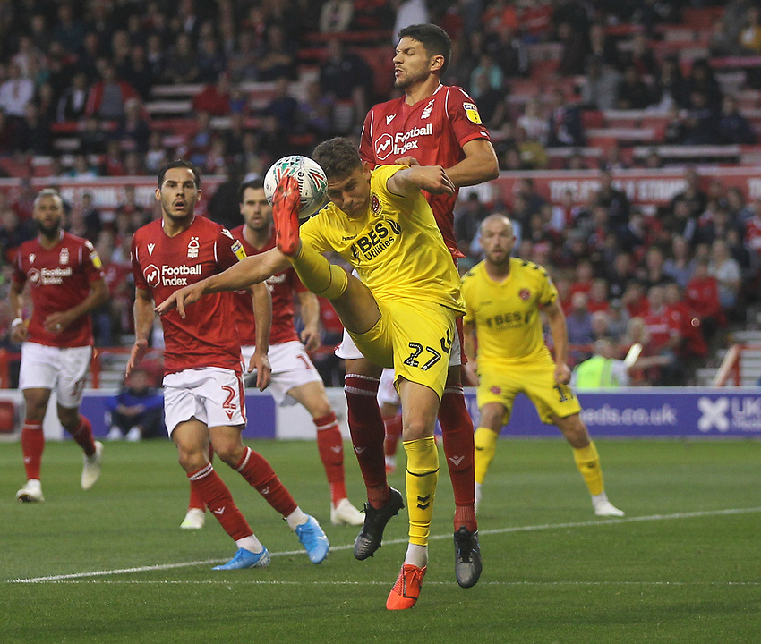 Fleetwood Town's Harrison Biggins<br /> <br /> Photographer Mick Walker/CameraSport<br /> <br /> The Carabao Cup First Round - Nottingham Forest v Fleetwood Town - Tuesday 13th August 2019 - The City Ground - Nottingham<br />  <br /> World Copyright © 2019 CameraSport. All rights reserved. 43 Linden Ave. Countesthorpe. Leicester. England. LE8 5PG - Tel: +44 (0) 116 277 4147 - admin@camerasport.com - www.camerasport.com