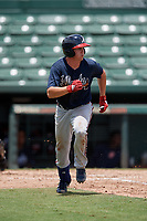 GCL Braves Cade Bunnell (25) runs to first base during a Gulf Coast League game against the GCL Orioles on August 5, 2019 at Ed Smith Stadium in Sarasota, Florida.  GCL Orioles defeated the GCL Braves 4-3 in the second game of a doubleheader.  (Mike Janes/Four Seam Images)