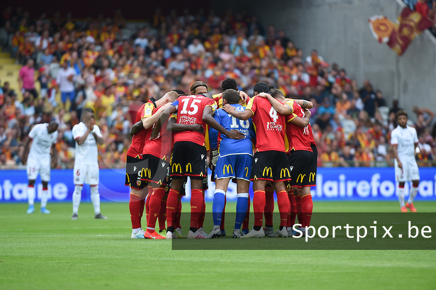 20190803 - LENS , FRANCE : players of RC Lens pictured before the soccer match between Racing Club de LENS and En Avant Guingamp , on the second matchday in the French Dominos pizza Ligue 2 at the Stade Bollaert Delelis stadium , Lens . Saturday 3 th August 2019 . PHOTO DIRK VUYLSTEKE | SPORTPIX.BE