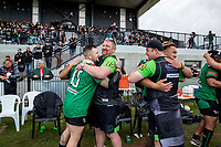 Linwood Keas celebrate winning the Canterbury Rugby League Grand Final against the Hornby Panthers at Ngā Puna Wai in Christchurch, New Zealand on Sunday, 25 August 2019. Photo: Martin Hunter / lintottphoto.co.nz