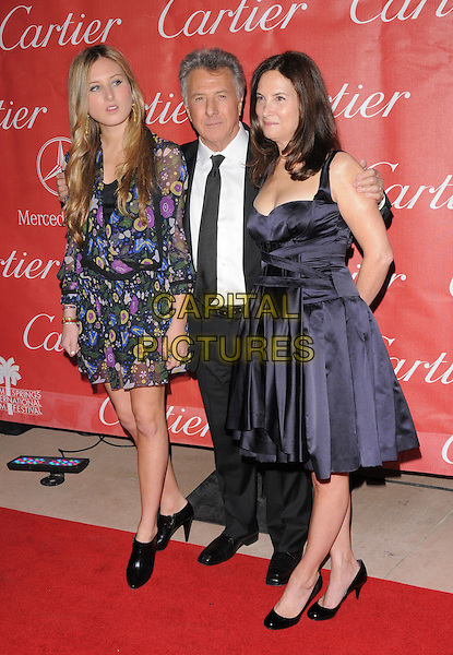 ALEXANDRA HOFFMAN, DUSTIN HOFFMAN & LISA HOFFMAN.The 20th Anniversary Palm Springs Film Festival Awards Gala held at The Palm Springs Film Festival in Palm Springs, California, USA..January 6th, 2009                                                                     full length married husband wife couple daughter mother father family floral print sheer ankle boots black suit blue purple dress heels.CAP/DVS.©Debbie VanStory/Capital Pictures.