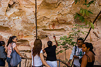 SAO RAIMUNDO NONATO, BRAZIL - FEBRUARY 02, 2014: Tourists visit the Pedra Furada site to view cave paintings in the Serra da Capivara National Park on February 2, 2014 near Sao Raimundo Nonato, Piaui province, in Northern Eastern Brazil.  <br /> <br /> Daniel Berehulak for The New York Times