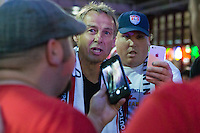 Philadelphia, PA - June 10, 2016: US Men's national team head coach Jurgen Klinsmann joins in with American Outlaws pre game party at the Field House Sportsbar.