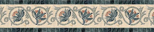 "8 5/8"" Bella border, a hand-cut stone mosaic, shown in polished Verde Luna, Verde Alpi, Rosa Verona, and honed Fontenay Claire."