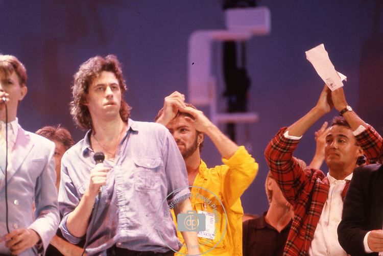 Live Aid 1985 Wembley Stadium, London , England. David Bowie, Bob Geldolf, George Michael, Andrew Ridgeley