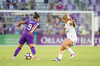Orlando, FL - Saturday July 15, 2017: Camila Martins Pereira, Brittany Ratcliffe during a regular season National Women's Soccer League (NWSL) match between the Orlando Pride and FC Kansas City at Orlando City Stadium.